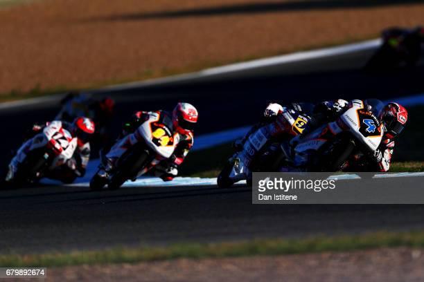 Patrik Pulkkinen of Finland and Peugeot MC Saxoprint rides during warmup for Moto3 at Circuito de Jerez on May 7 2017 in Jerez de la Frontera Spain