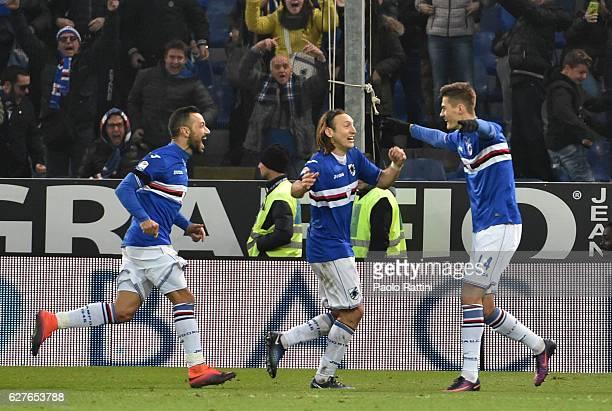 Patrik Schick celebrates after goal 20 during the Serie A match between UC Sampdoria and FC Torino at Stadio Luigi Ferraris on December 4 2016 in...