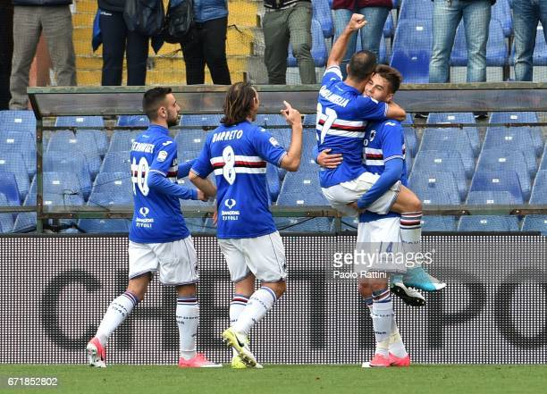 Patrik Schick celebrates after scoring 10 during the Serie A match between UC Sampdoria and FC Crotone at Stadio Luigi Ferraris on April 23 2017 in...