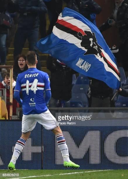 Patrik Schick celebrates after scoring 21 during the Serie A match between UC Sampdoria andv Bologna FC at Stadio Luigi Ferraris on February 12 2017...