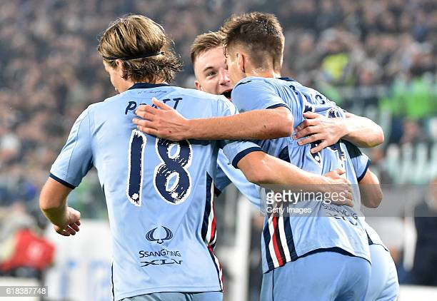 Patrik Schick celebrates with teammates after scoring 21 during the Serie A match between Juventus FC and UC Sampdoria at Juventus Stadium on October...