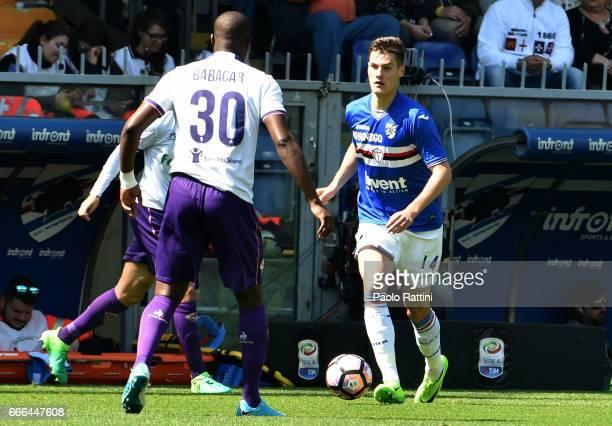 Patrik Schick in action during the Serie A match between UC Sampdoria and ACF Fiorentina at Stadio Luigi Ferraris on April 9 2017 in Genoa Italy