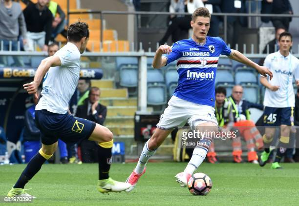 Patrik Schick in action during the Serie A match between UC Sampdoria and AC ChievoVerona at Stadio Luigi Ferraris on May 14 2017 in Genoa Italy