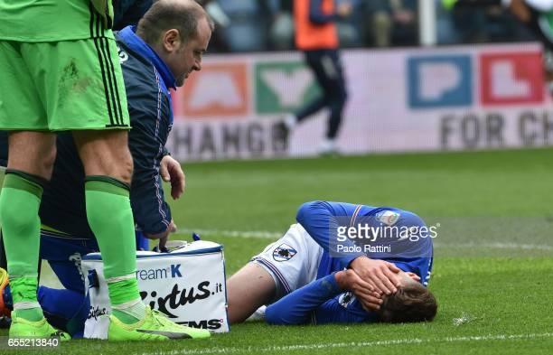 Patrik Schick injured during the Serie A match between UC Sampdoria and Juventus FC at Stadio Luigi Ferraris on March 19 2017 in Genoa Italy