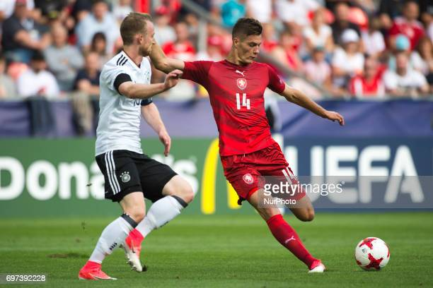 Patrik Schick of Czech and Maximilian Arnold of Germany battle for the ball during the UEFA European Under21 Championship 2017 Group C match between...