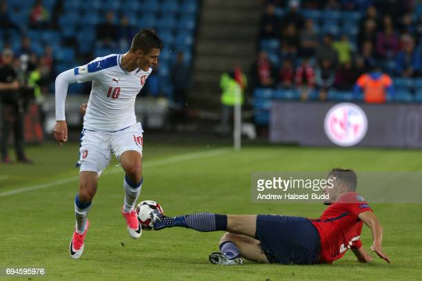 Patrik schick of Czech Republic and Gustav Valsvik of Norway during the FIFA 2018 World Cup Qualifier between Norway and Czech Republic at Ullevaal...