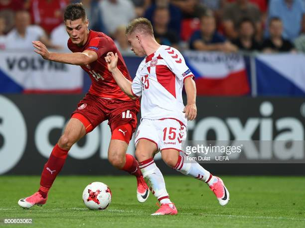 Patrik Schick of Czech Republic and Mads Pedersen of Denmark battle for the ball during the UEFA European Under21 Championship Group C match between...