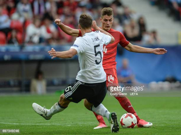Patrik Schick of Czech Republic in action during their UEFA European Under21 Championship match on June 18 2017 in Tychy Poland