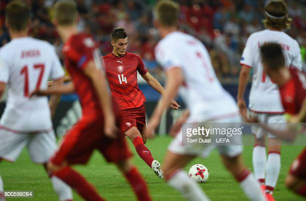 Patrik Schick of Czech Republic shoots from a free kick during the UEFA European Under21 Championship Group C match between Czech Republic and...