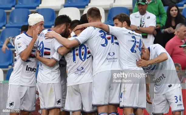 Patrik Schick of Sampdoria celebrates after scoring 01 during the Serie A match between US Sassuolo and UC Sampdoria at Mapei Stadium Citta' del...