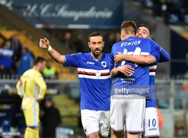 Patrik Schick of Sampdoria celebrates after sore 31 during the Serie A match between UC Sampdoria and Pescara Calcio at Stadio Luigi Ferraris on...