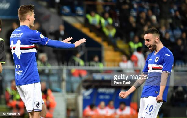 Patrik Schick of Sampdoria celebrates from Bruno Fernandes after score 31 during the Serie A match between UC Sampdoria and Pescara Calcio at Stadio...