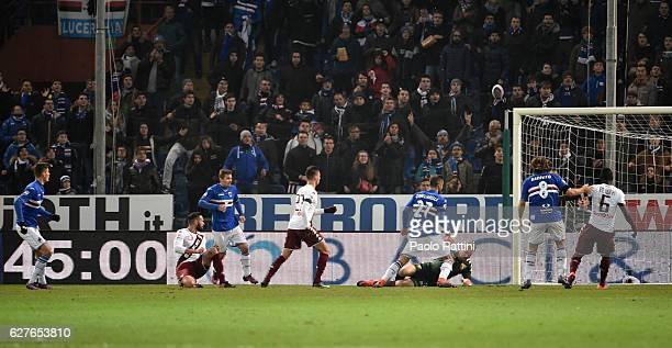 Patrik Schick of Sampdoria scores their second goal 20 during the Serie A match between UC Sampdoria and FC Torino at Stadio Luigi Ferraris on...