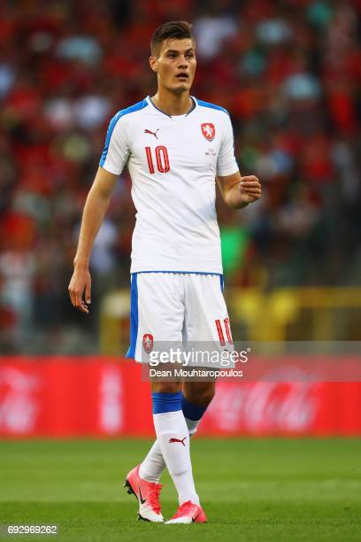 Patrik Schick of the Czech Republic in action during the International Friendly match between Belgium and Czech Republic at Stade Roi Baudouis on...