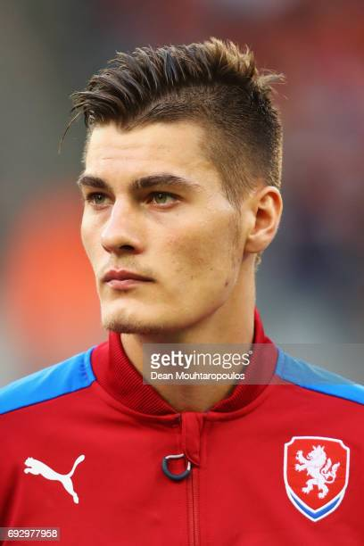Patrik Schick of the Czech Republic stand for the national anthem prior to the International Friendly match between Belgium and Czech Republic at...