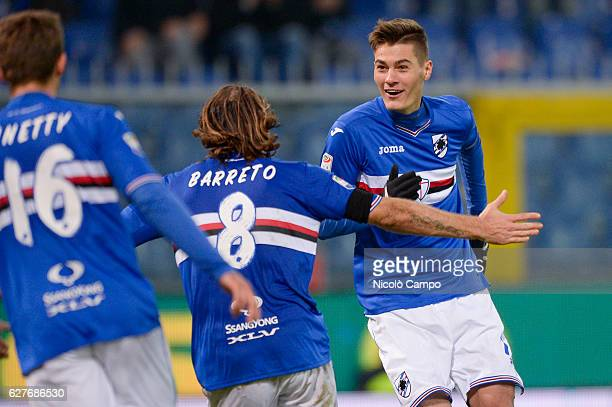 Patrik Schick of UC Sampdoria celebrates after scoring a goal during the Serie A football match between UC Sampdoria and Torino FC UC Sampdoria won...