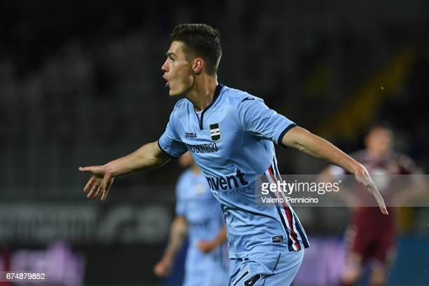 Patrik Schick of UC Sampdoria celebrates the opening goal during the Serie A match between FC Torino and UC Sampdoria at Stadio Olimpico di Torino on...