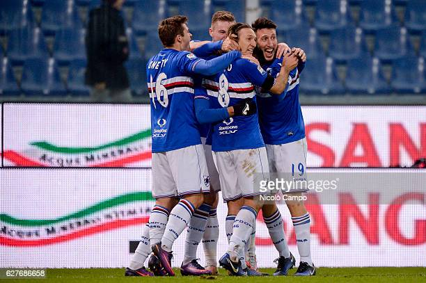 Patrik Schick of UC Sampdoria celebrates with his team mates after scoring a goal during the Serie A football match between UC Sampdoria and Torino...