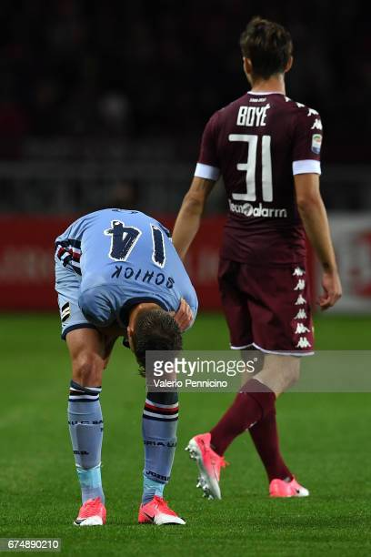 Patrik Schick of UC Sampdoria reacts after getting injured during the Serie A match between FC Torino and UC Sampdoria at Stadio Olimpico di Torino...
