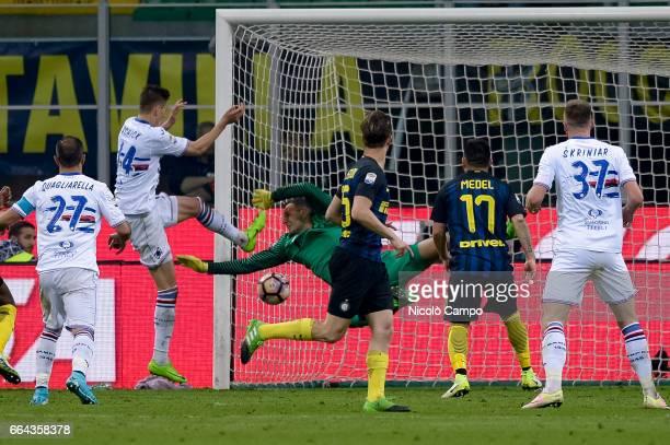 Patrik Schick of UC Sampdoria scores a goal during the Serie A football match between FC Internazionale and UC Sampdoria UC Sampdoria wins 21 over FC...