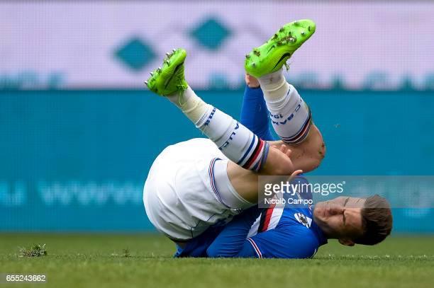 Patrik Schick of UC Sampdoria suffers an injury during the Serie A football match between UC Sampdoria and Juventus FC Juventus FC wins 10 over UC...