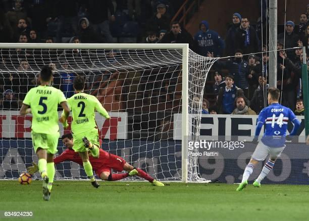 Patrik Schick scoring 21 during the Serie A match between UC Sampdoria andv Bologna FC at Stadio Luigi Ferraris on February 12 2017 in Genoa Italy