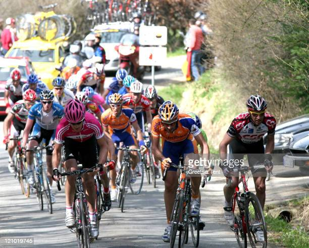 Patrik Sinkewitz and Juan Antonio Flecha leading the group while climbing the steep hill 'Cote de Stockeu' near the town of Stavelot in the 92nd...