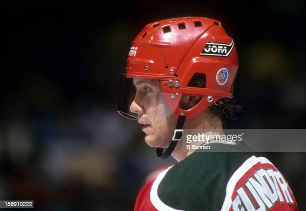 Patrik Sundstrom of the New Jersey Devils looks on during an NHL game against the New York Islanders on December 12 1987 at the Nassau Coliseum in...