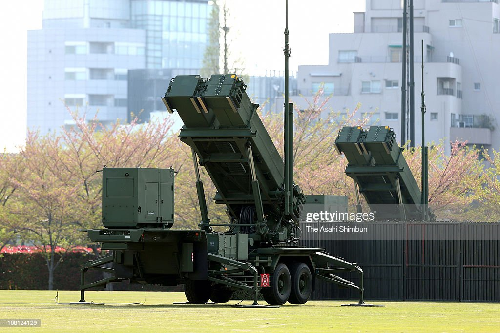 PAC-3, Patriot Advanced Capability-3 missiles are deployed at Defense Ministry on April 9, 2013 in Tokyo, Japan. Japan prepares for North Korea's possible missile launch.