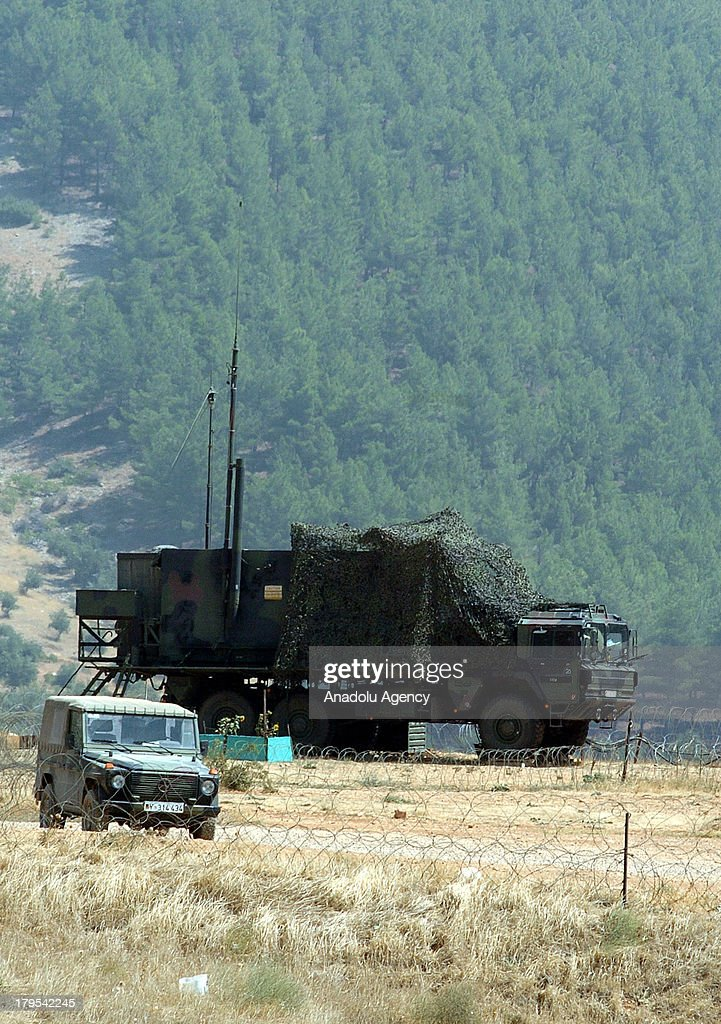 Patriot air defence system is seen on the Turkey's south eastern province of Kahramanmaras on September 2, 2013 in Turkey. The Patriot defence system was set up during 2012 along Turkey's border with Syria. After Turkey's demand to NATO for the Patriot air defence system in 2011 for their borders facing Syria after the Syrian cival war broke out. Due to the mobility around the region, patriots deployed in Kahramanmaras, Gaziantep and Adana have been kept ready for 24 hours.