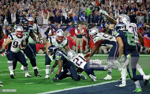 Patriot defensive back Malcolm Butler intercepts Russell Wilson end of 4th quarter The New England Patriots plays against the Seattle Seahawks Sunday...