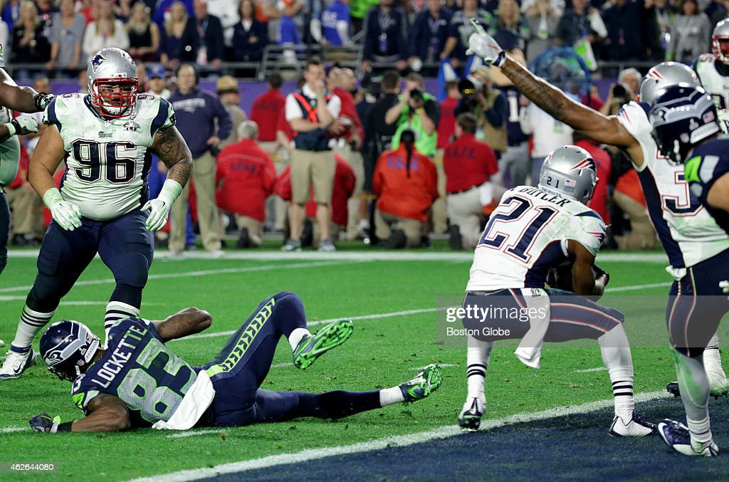 Patriot defensive back Malcolm Butler intercepts the Seahawks' Russell Wilson at the end of fourth quarter