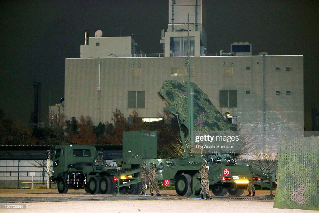 PAC-3 patriot missile is deployed at the Defense Ministry in preparation for the North Korea's long range missile launch on December 5, 2012 in Tokyo, Japan. Japan deploys PAC-3 missiles to Okinawa and Tokyo in responce to North Korea's announcement that they will launch 'the satellite' between December 10 and 22.