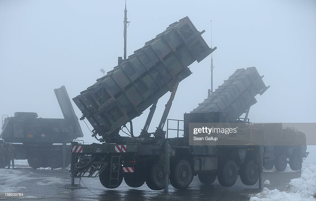 Patriot missile launching systems of the German Bundeswehr stand during a press day at the Luftwaffe Warbelow training center on December 18, 2012 in Warbelow, Germany. Germany, along with the USA and the Netherlands, will send two Patriot systems to Turkey in January to protect Turkey from Syrian attacks.
