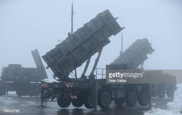 Patriot missile launching systems of the German Bundeswehr stand during a press day at the Luftwaffe Warbelow training center on December 18 2012 in...