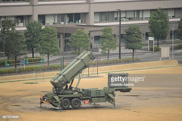 Patriot PAC3 missile batteries is seen is the courtyard of the Japan Defense Ministry as Japan armed is in on high alert after satellite images...
