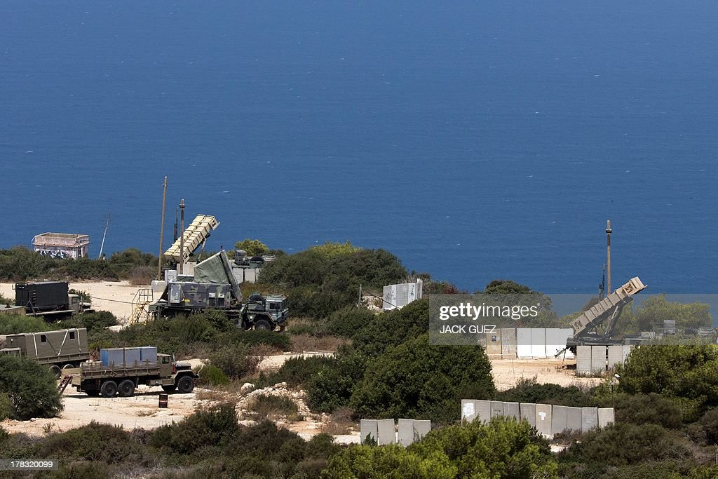 Patriot surface-to-air missile batteries are positioned in the Mediterranean coastal city of Haifa north of Israel on August 29, 2013. The Israeli cabinet authorised on August 28, 2013 a partial call-up of army reservists amid growing expectations of a foreign military strike on neighbouring Syria, army radio reported.