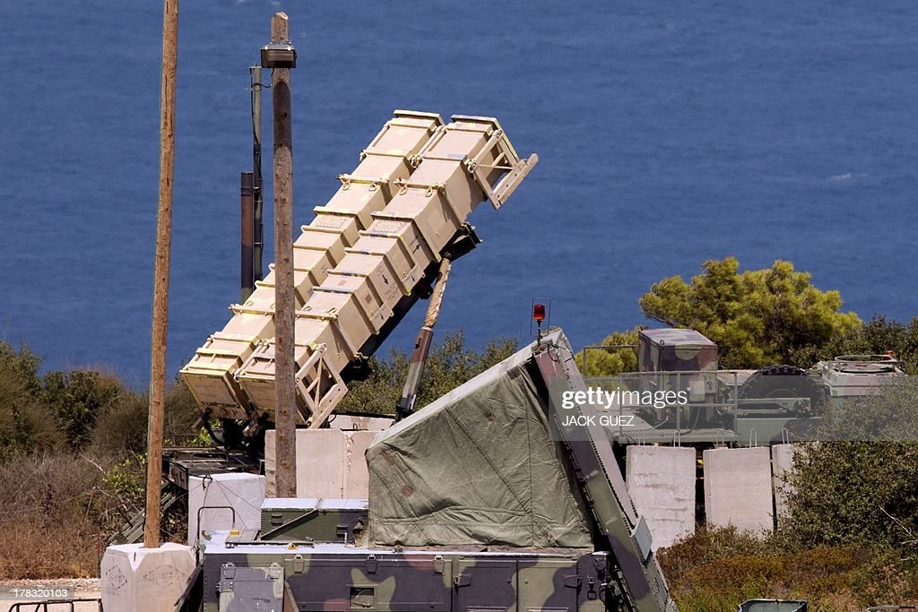 A Patriot surface-to-air missile battery is positioned in the Mediterranean coastal city of Haifa north of Israel on August 29, 2013. The Israeli cabinet authorised on August 28, 2013 a partial call-up of army reservists amid growing expectations of a foreign military strike on neighbouring Syria, army radio reported.