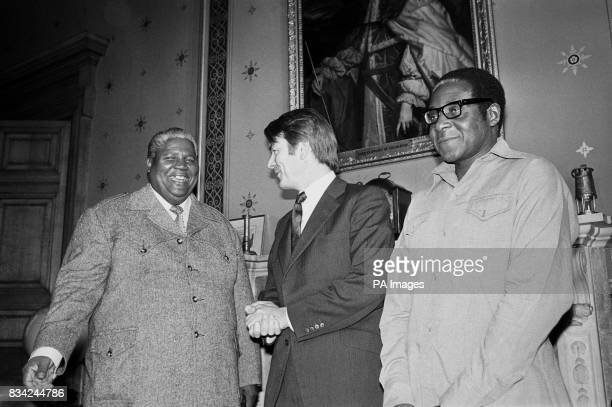 Patriotic Front leaders Robert Mugabe and Joshua Nkomo with the Foreign Secretary Dr David Owen at the Foreign Office in London when they met for...