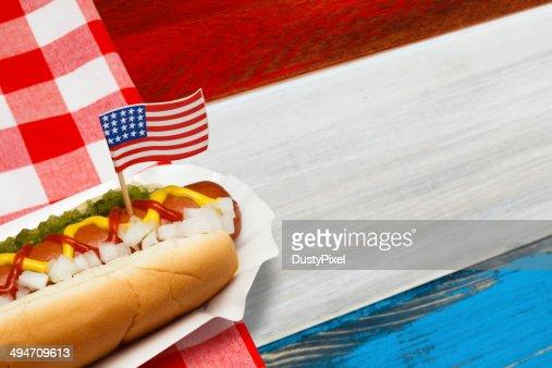 Patriotic Hotdog : Stock Photo