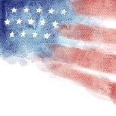Patriotic Red, White, and Blue Watercolor Painted Background with copy space. Design element for fourth of july, memorial day, veterans day, or other patriotic United States needs.