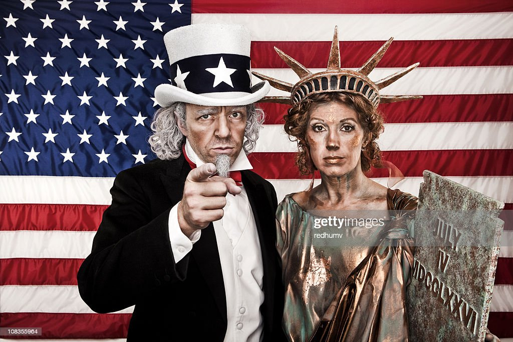 Patriotic Uncle Sam and Lady Liberty Want YOU!