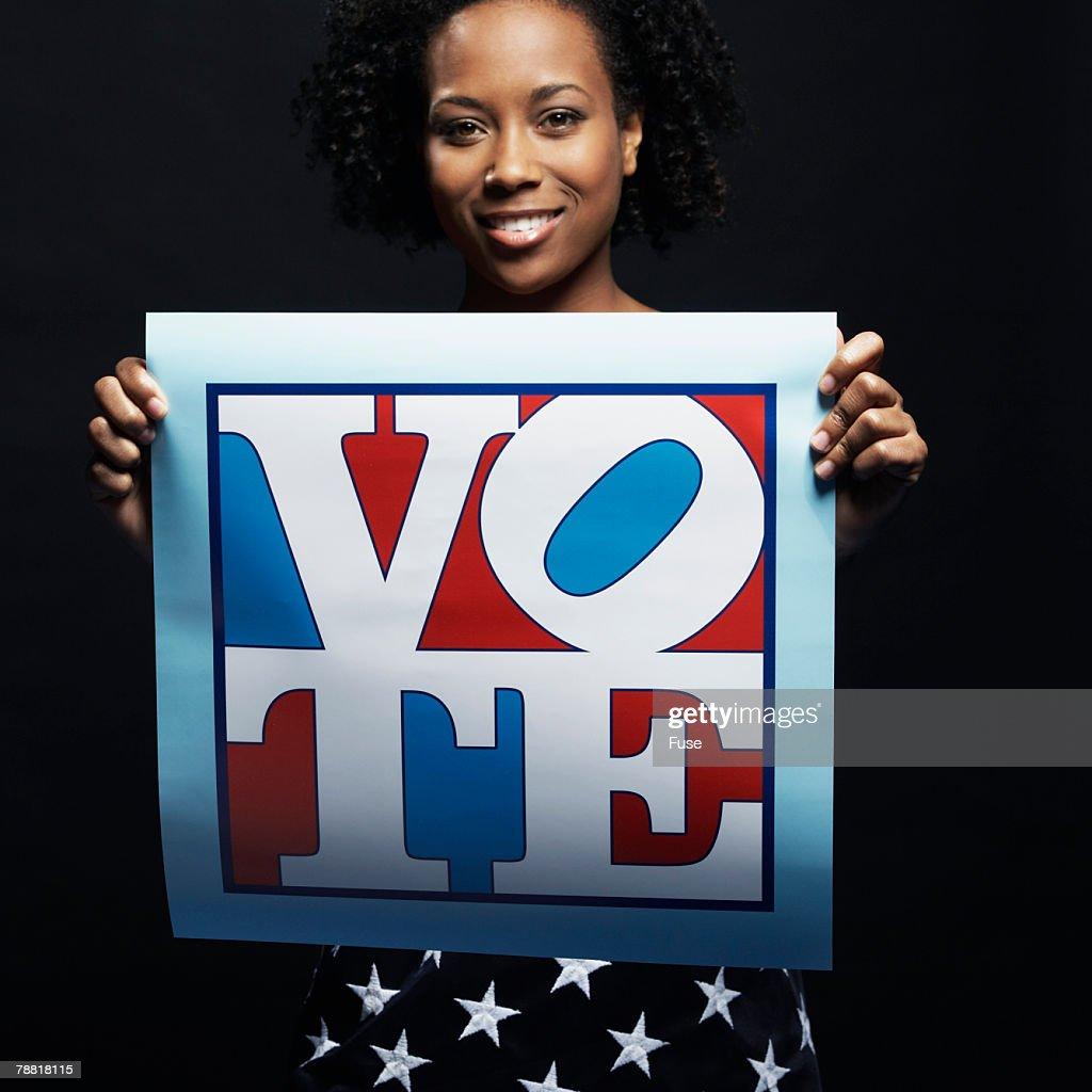 Patriotic Woman Holding Vote Placard