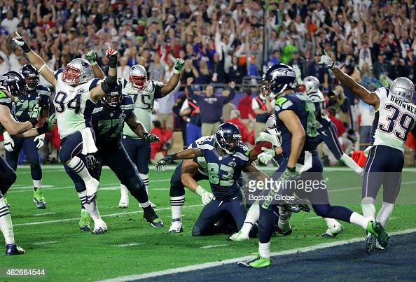 Patriots celebrate Malcolm Butler's interception of Russell Wilson end of fourth quarter The New England Patriots plays against the Seattle Seahawks...