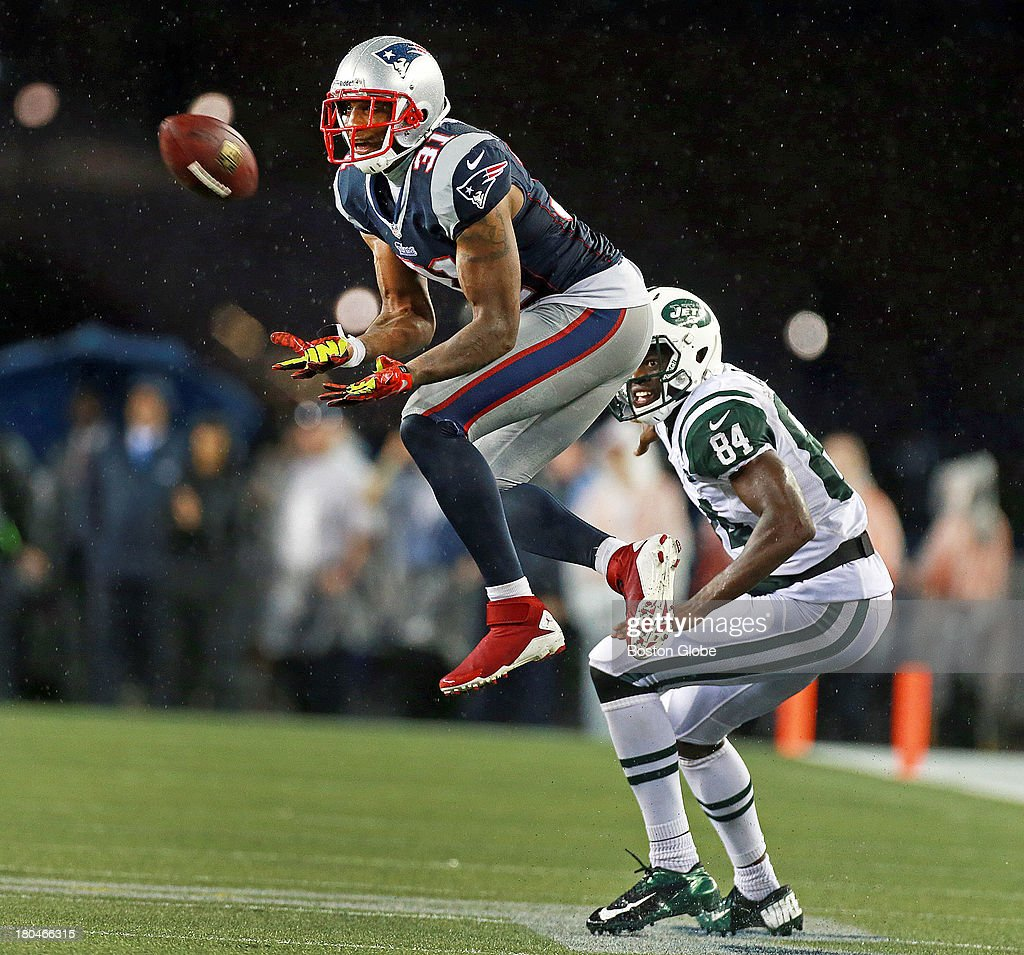 Patriots center back Aqib Talib leaps in front of Jets WR Stephen Hill and makes the interception in the final minute of the game that sealed New England's victory. The New England Patriots take on the New York Jets at Gillette Stadium in Foxborough.