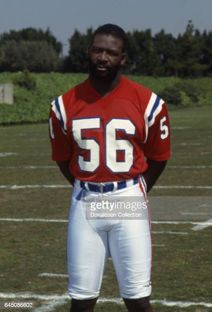 Patriots defensive end Andre Tippett poses for a portrait session in uniform on the field on April 4 1987 in Los Angeles California