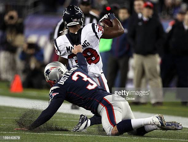 Patriots kicker Stephen Gostkowski recieved a 15yard penalty for this horse collar tackle of the Texans' Danieal Maning as he hauled him down at the...