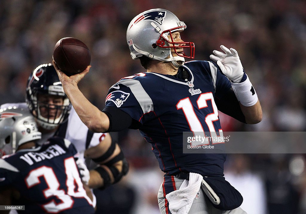 Patriots quarterback Tom Brady broke the NFL record of Joe Montana with his 18th career playoff victory with the New England victory, but the only thing that was broken on this first quarter pass was the left forearm of tight end Rob Gronkowski, not pictured, who caught this pass, but came down out of bounds and out of action for the rest of the season. The New England Patriots hosted the Houston Texans in an NFL AFC Divisional Playoff Game at Gillette Stadium, Jan. 13, 2013.