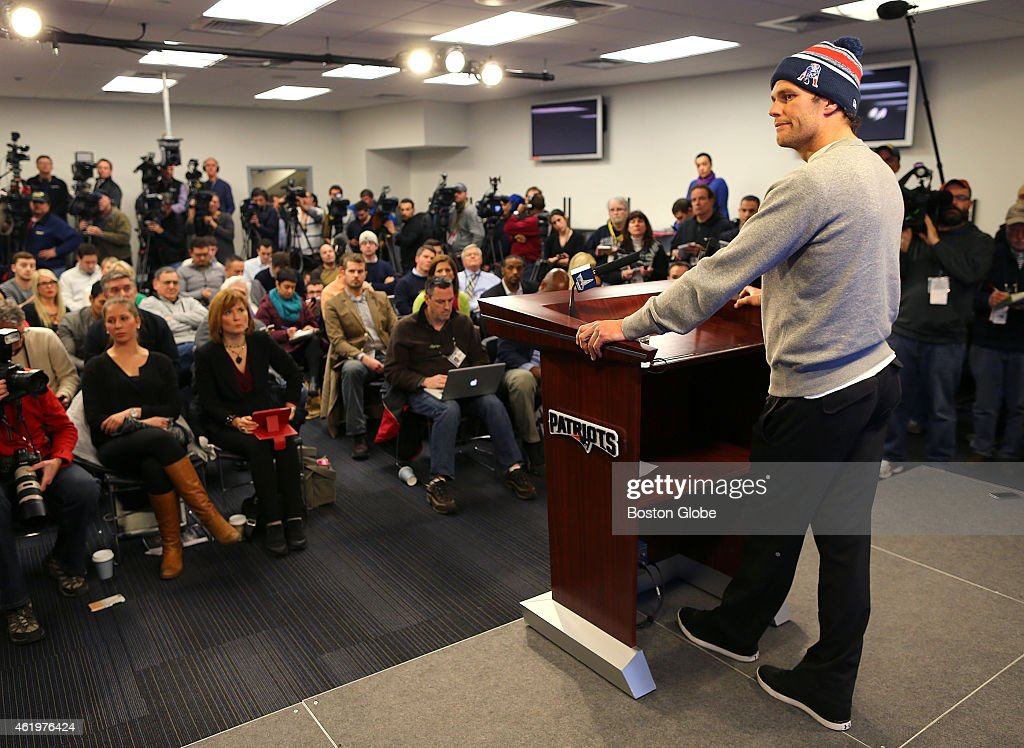 Patriots quarterback <a gi-track='captionPersonalityLinkClicked' href=/galleries/search?phrase=Tom+Brady+-+American+football-quarterback&family=editorial&specificpeople=201737 ng-click='$event.stopPropagation()'>Tom Brady</a> speaks to the media at a press conference at Gillette Stadium about the under-inflated footballs used in the AFC Championship Game.