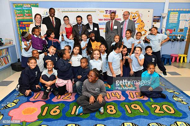 Patriots Tight End and Children's Book Author Martellus Bennett visits Read to a Child's Lunchtime Reading Program at Boston Public Schools' Tobin K8...